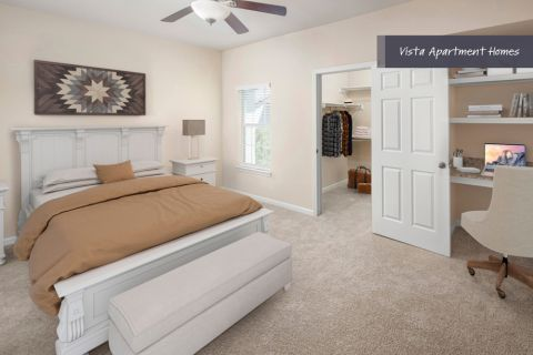 Vista Bedroom with home office space at Camden Riverwalk Apartments in Grapevine, TX