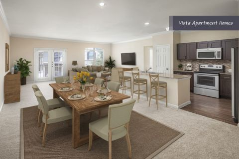 Vista Dining room and living area at Camden Riverwalk Apartments in Grapevine, TX