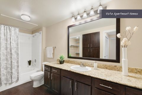 Vista Bathroom at Camden Riverwalk Apartments in Grapevine, TX