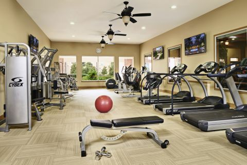Fitness Center with Cardio and Free Weights at Camden Royal Oaks Apartments in Houston, TX
