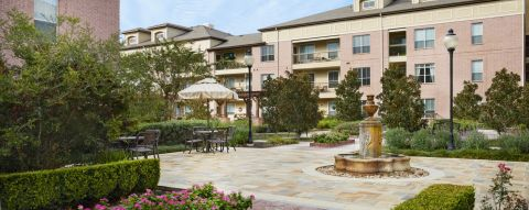 English Gardens with Dining Areas at Camden Royal Oaks Apartments in Houston, TX