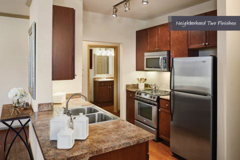 Kitchen with Stainless Steel Appliances at Camden Royal Oaks Apartments in Houston, TX