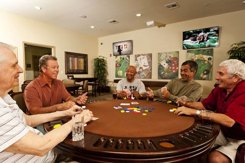 Play Card Games with Friends in the Game Room at Camden Royal Oaks Apartments in Houston, TX