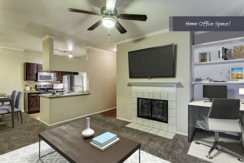 Open-concept living room with space to work from home at Camden San Marcos Apartments in Scottsdale, AZ