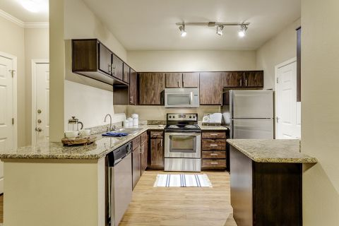 Kitchen in two bedroom apartment at Camden San Marcos Apartments in Scottsdale, AZ