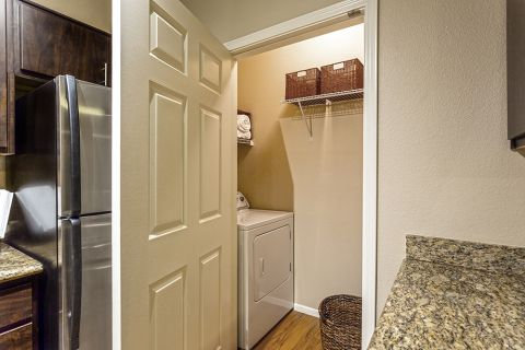 Full-size washer and dryer in laundry room at Camden San Marcos Apartments in Scottsdale, AZ