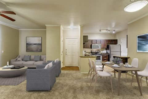 Open-concept living, dining and kitchen in two bedroom apartment at Camden San Marcos Apartments in Scottsdale, AZ