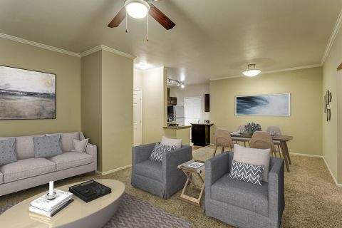 Living and dining room in two bedroom apartment at Camden San Marcos Apartments in Scottsdale, AZ