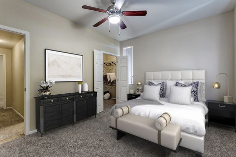 Bedroom with walk-in closet at Camden San Marcos Apartments in Scottsdale, AZ