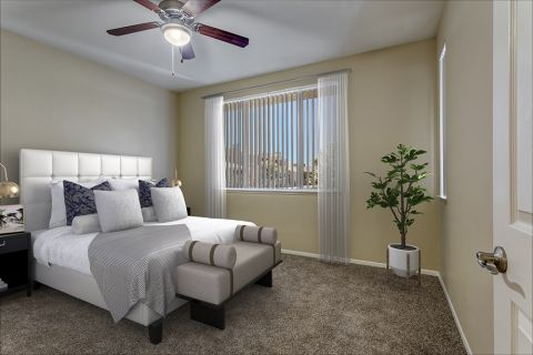 Bedroom with ceiling fan at Camden San Marcos Apartments in Scottsdale, AZ