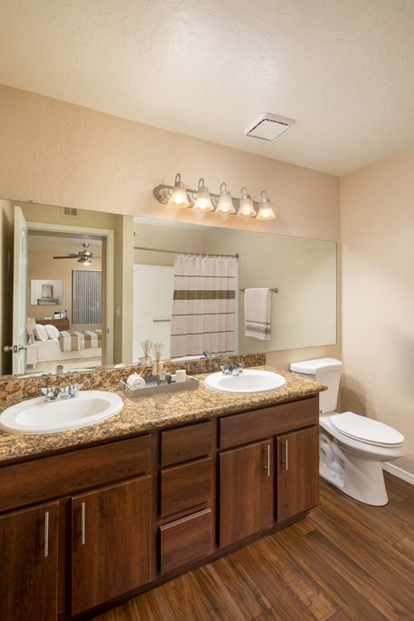 Double Vanity Bathroom at Camden San Paloma Apartments in Scottsdale, AZ