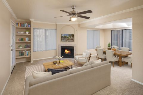 Living Room and Dining Area at Camden San Paloma Apartments in Scottsdale, AZ