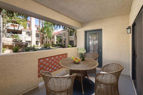 Patio at Camden San Paloma Apartments in Scottsdale, AZ