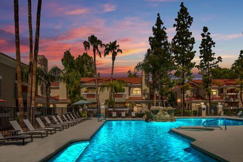 Pool at Dusk at Camden San Paloma Apartments in Scottsdale, AZ