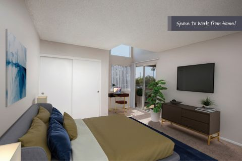Bedroom with Home Office Space at Camden Sea Palms Apartments in Costa Mesa, CA