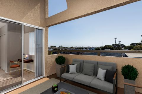 Patio at Camden Sea Palms Apartments in Costa Mesa, CA