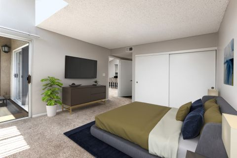 Bedroom at Camden Sea Palms Apartments in Costa Mesa, CA