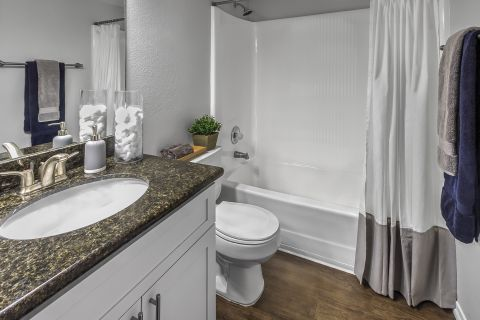 Bathroom at Camden Sea Palms Apartments in Costa Mesa, CA