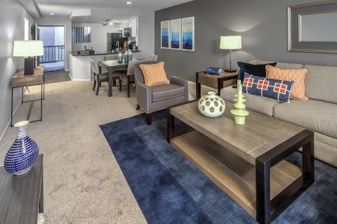 Spacious living room at Camden Sea Palms Apartments in Costa Mesa, CA