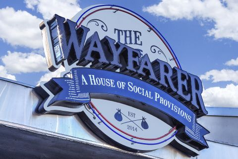 The Wayfarer famous bar and restaurant at Camden Sea Palms Apartments in Costa Mesa, CA