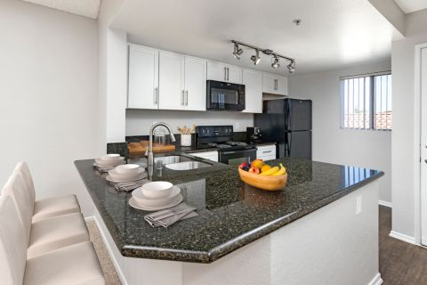 Kitchen at Camden Sea Palms Apartments in Costa Mesa, CA