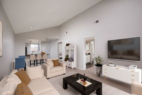 Open Living Room at Camden Sea Palms Apartments in Costa Mesa, CA