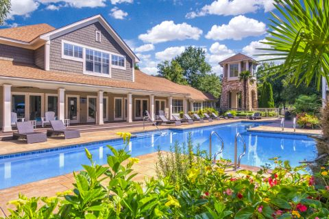 Sparkling swimming pool at Camden Sedgebrook Apartments in Huntersville, NC