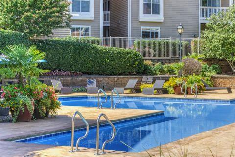 Resort-style swimming pool at Camden Sedgebrook Apartments in Huntersville, NC