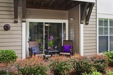 Patio at Camden Sedgebrook Apartments in Huntersville, NC