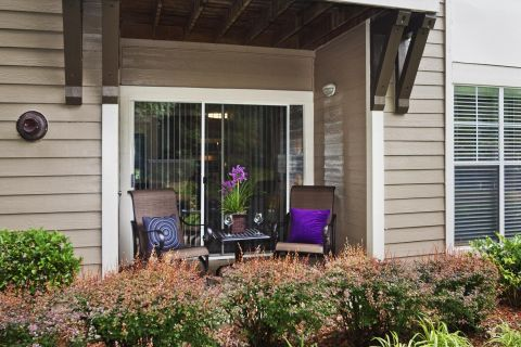 Patio at Camden Sedgebrook Apartments in Huntersville, NC