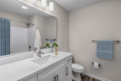 Renovated Bathroom at Camden Sedgebrook Apartments in Huntersville, NC
