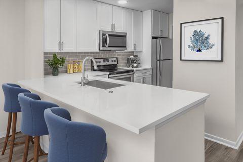 Renovated Kitchen at Camden Sedgebrook Apartments in Huntersville, NC