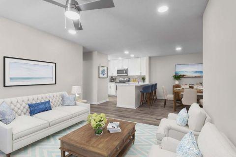 Renovated Living Room at Camden Sedgebrook Apartments in Huntersville, NC