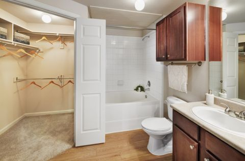 Spacious bathroom at Camden Shadow Brook apartments in Austin, TX