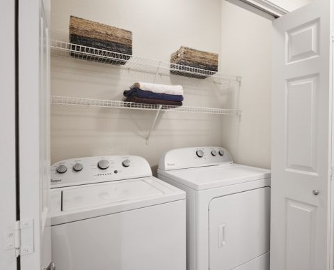Full-size washer and dryer at Camden Shadow Brook apartments in Austin, TX