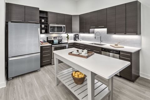 Kitchen with Moveable Island at Camden Shady Grove Apartments in Rockville, MD