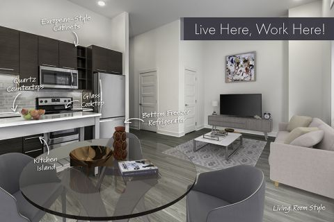 Live/Work Apartment Home with Living Room Style Option at Camden Shady Grove Apartments in Rockville, MD