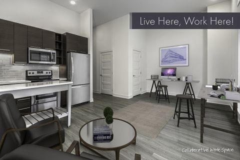 Live/Work Apartment with Collaborative Work Space Layout at Camden Shady Grove Apartments in Rockville, MD