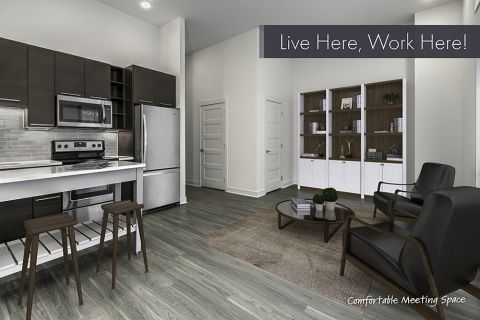 Live/Work Apartment with Comfortable Meeting Space Layout at Camden Shady Grove Apartments in Rockville, MD