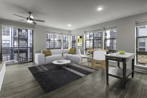 Open-Concept Living and Dining Space at Camden Shady Grove Apartments in Rockville, MD