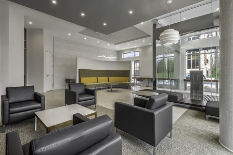 East Lobby with Comfortable Seating and WiFi at Camden Shady Grove Apartments in Rockville, MD