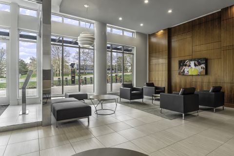 East Lobby Resident Lounge with Flat Screen TV at Camden Shady Grove Apartments in Rockville, MD