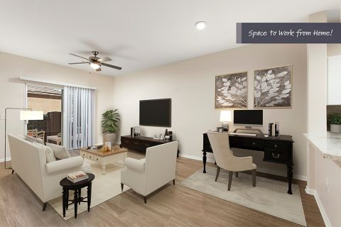 Open-Concept Living Room with Space to Work from Home at Camden Sierra at Otay Ranch Apartments in Chula Vista, CA