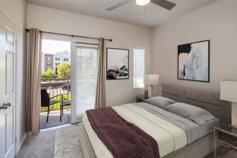Bedroom in Townhome with Patio Camden Sierra at Otay Ranch Apartments in Chula Vista, CA