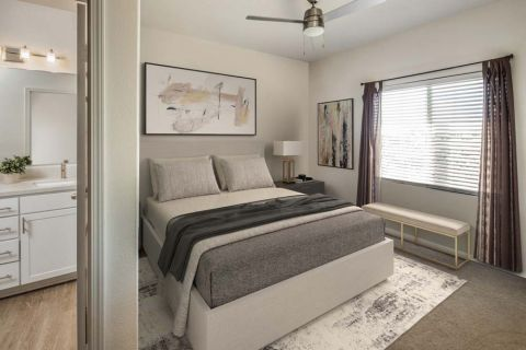 Main Bedroom in Townhome with Ensuite Bathroom Camden Sierra at Otay Ranch Apartments in Chula Vista, CA