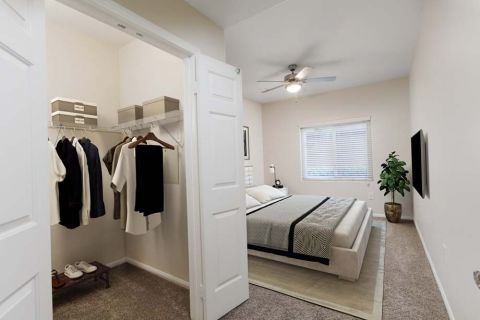 Bedroom with walk-in closet Camden Sierra at Otay Ranch Apartments in Chula Vista, CA