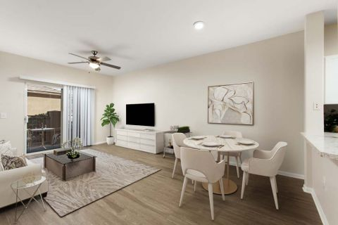 Open Concept Living and Dining Area with Patio Camden Sierra at Otay Ranch Apartments in Chula Vista, CA