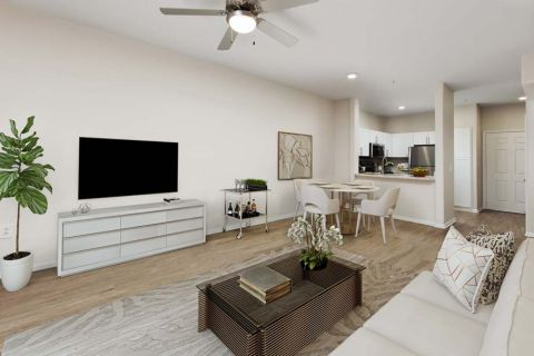 Open Concept Living and Dining Areas near Kitchen Camden Sierra at Otay Ranch Apartments in Chula Vista, CA