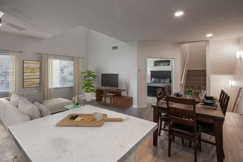 Open Concept Kitchen Dining and Living Area in Townhome Camden Sierra at Otay Ranch Apartments in Chula Vista, CA