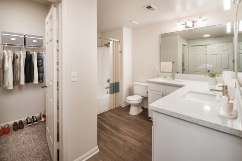 Bathroom and Closet at Camden Sierra at Otay Ranch Apartments in Chula Vista, CA